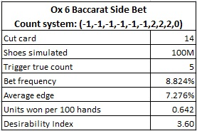 ox 6 baccarat side bet count system