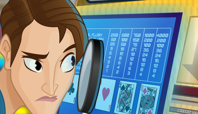 Video poker player with magnifying glass