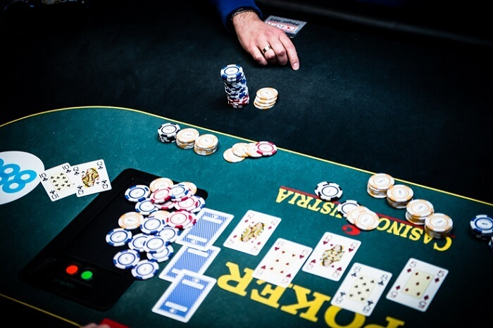 casino chips up on a poker table