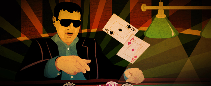 blackjack player throwing cards