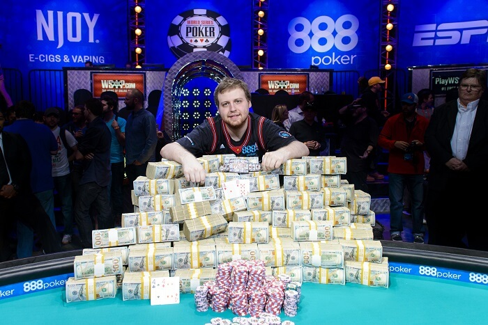 the winner of WSOP with a big pile of cash