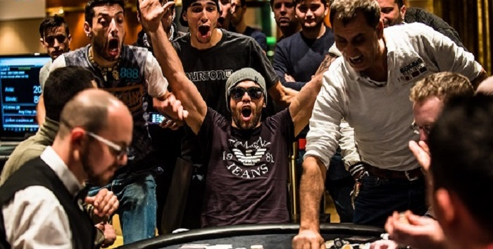 the winner of costa barava 888live tournament in the moment of winning