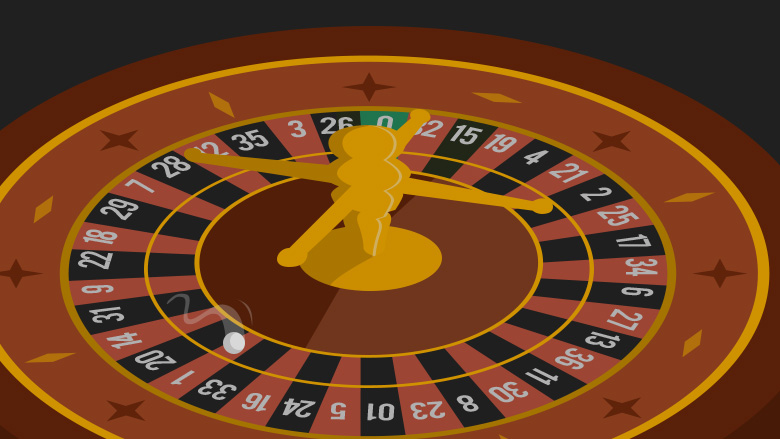 The roulette ball entering the basket of the roulette wheel